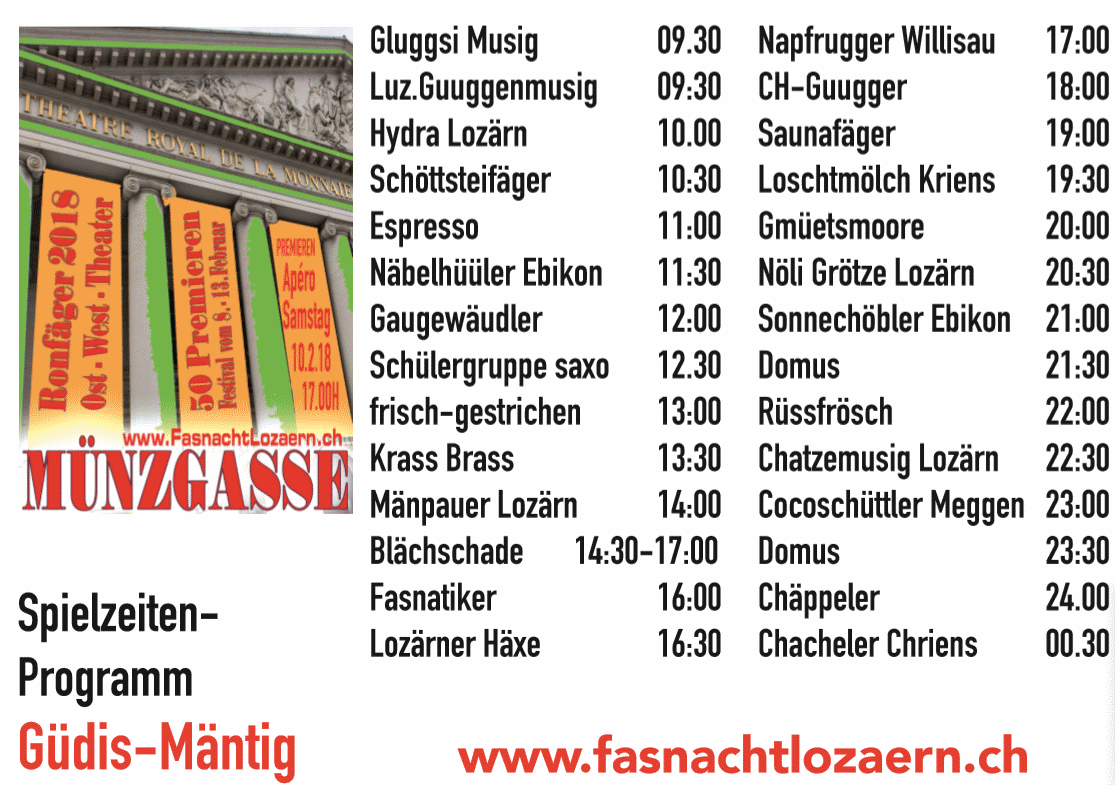Das Programm am Güdis-Mäntig in der Münzgasse
