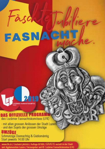 Programm der Luzerner Fasnachts Umzüge vom Schmudo und Güdis Montag
