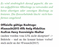 offizieller Fasnachts Hashtag zu Fasnacht2015