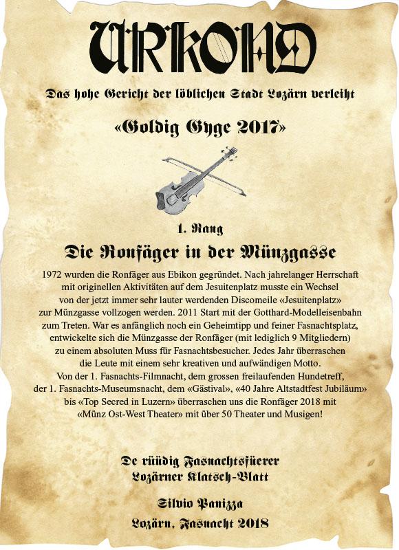 """Und der Gewinner der """"Goldig Gyge 2018"""" ist Ronfäger in der Münzgasse"""